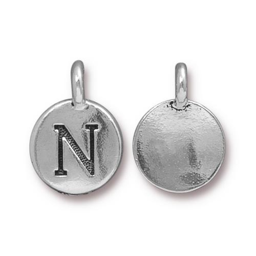 aCast Pewter Silver Plated Alphabet Charm, Letter N
