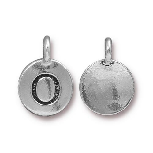 TierraCast Pewter Silver Plated Alphabet Charm, Letter O