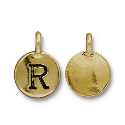 TierraCast Pewter Gold Plated Alphabet Charm, Letter R