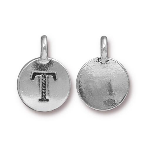 TierraCast Pewter Silver Plated Alphabet Charm, Letter T