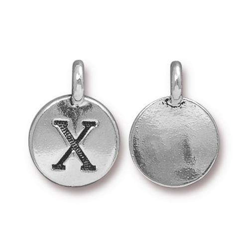 TierraCast Pewter Silver Plated Alphabet Charm, Letter X