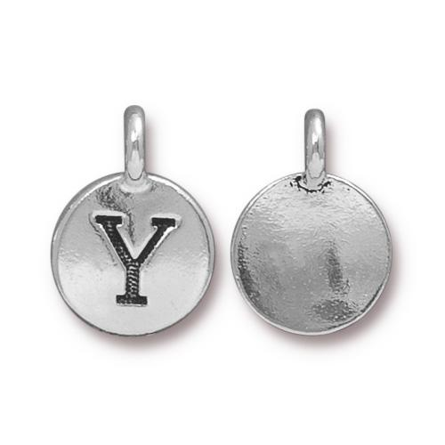 TierraCast Pewter Silver Plated Alphabet Charm, Letter Y