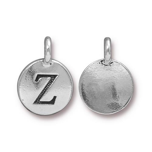 TierraCast Pewter Silver Plated Alphabet Charm, Letter Z