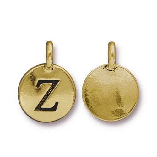 TierraCast Pewter Gold Plated Alphabet Charm, Letter Z