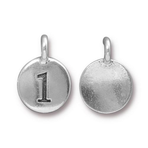 TierraCast Pewter Silver Plated Number Charm, 1