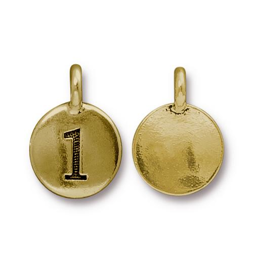 TierraCast Pewter Gold Plated Number Charm, 1