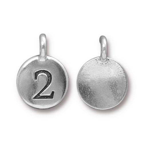 TierraCast Pewter Silver Plated Number Charm, 2