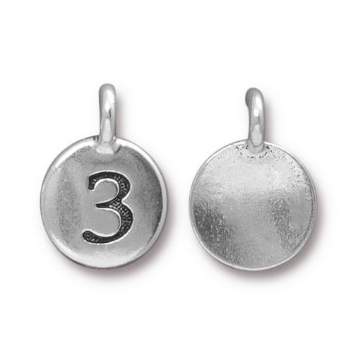 TierraCast Pewter Silver Plated Number Charm, 3