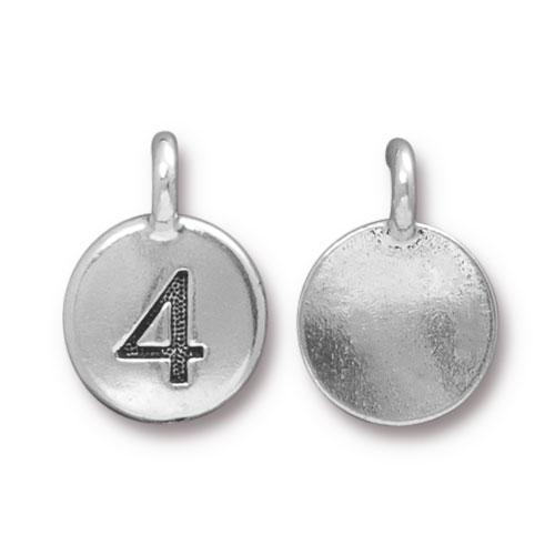 TierraCast Pewter Silver Plated Number Charm, 4