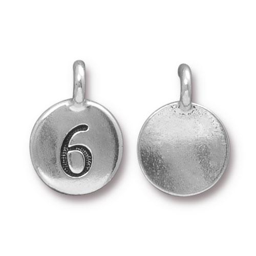 TierraCast Pewter Silver Plated Number Charm, 6