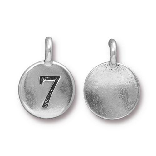 TierraCast Pewter Silver Plated Number Charm, 7