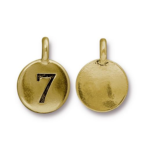 TierraCast Pewter Gold Plated Number Charm, 7
