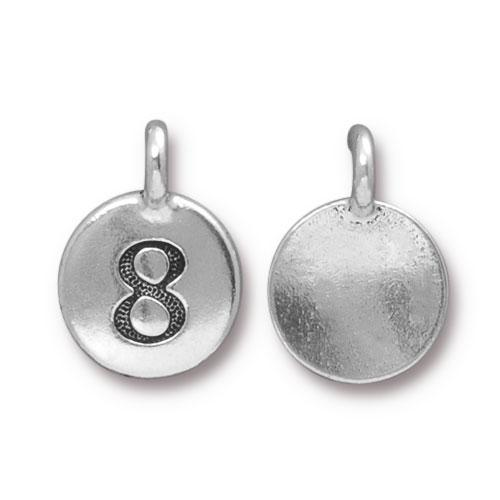 TierraCast Pewter Silver Plated Number Charm, 8