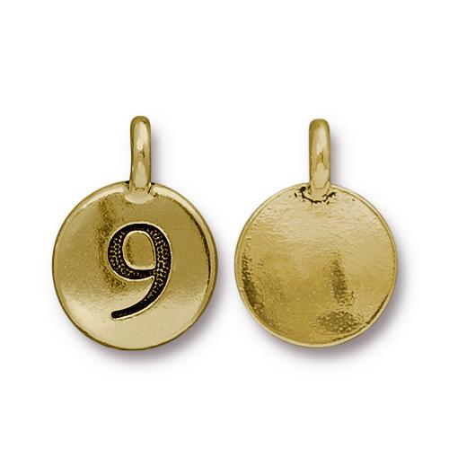 TierraCast Pewter Gold Plated Number Charm, 9