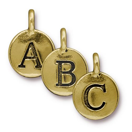 TierraCast Pewter Gold Plated Alphabet Charm, Full Set of Letters (26pc)