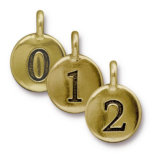TierraCast Pewter Gold Plated Charm, Full Set of Numbers (10pc)