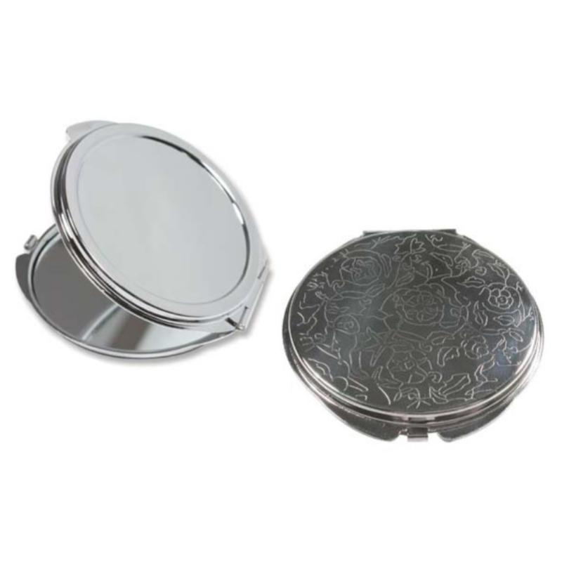 Flower Engraved Pocket Mirror Compact Silver Plated - 50mm Setting for Cameo, Cabochon, Resin, Collage or Clay (1pc) Combo