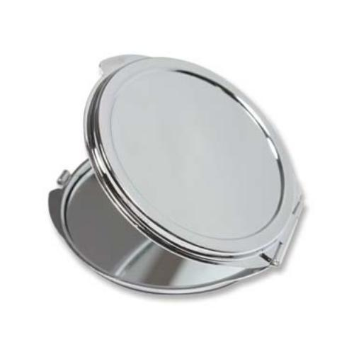 Flower Engraved Pocket Mirror Compact Silver Plated - 50mm Setting for Cameo, Cabochon, Resin, Collage or Clay (1pc) Front
