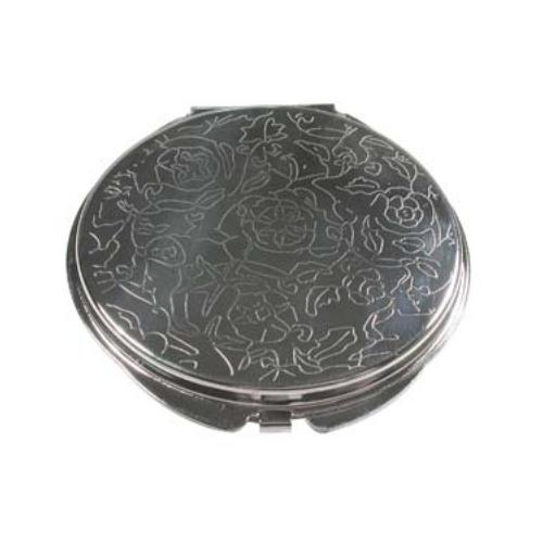 Flower Engraved Pocket Mirror Compact Silver Plated - 50mm Setting for Cameo, Cabochon, Resin, Collage or Clay (1pc) Back