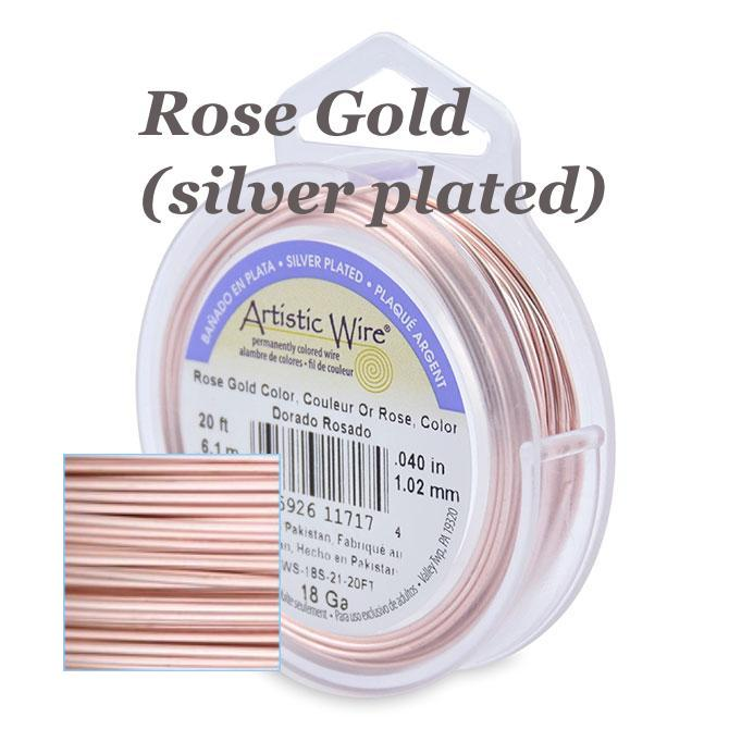 Beadalon Artistic Wire, Rose Gold Silver Plated Jewellery Wire UK