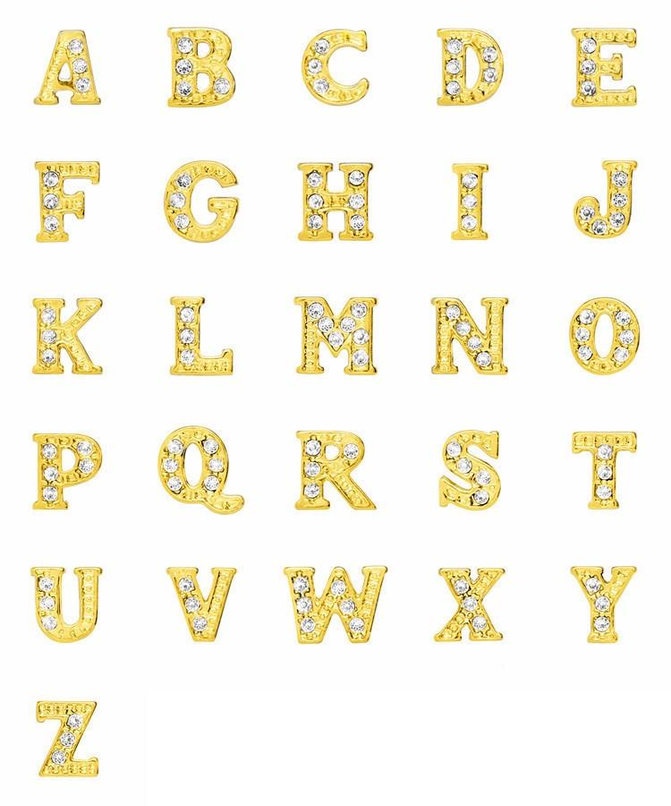 Floating Living Locket Charms, Crystal Rhinestone Gold Alphabet Letters