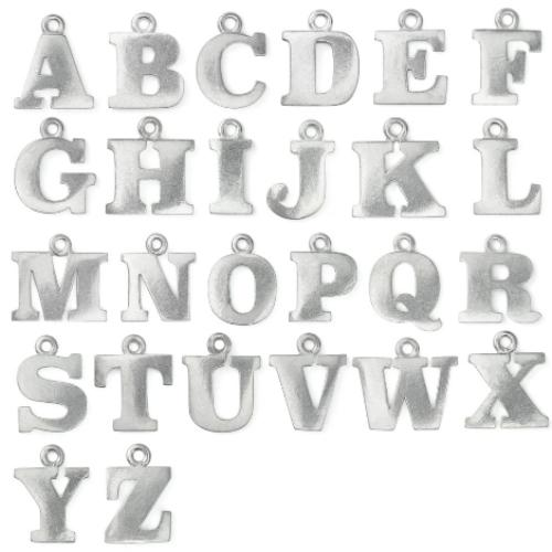 Pewter Soft Strike Alphabet Letter Z 3/4 inch Charm Example A-Z