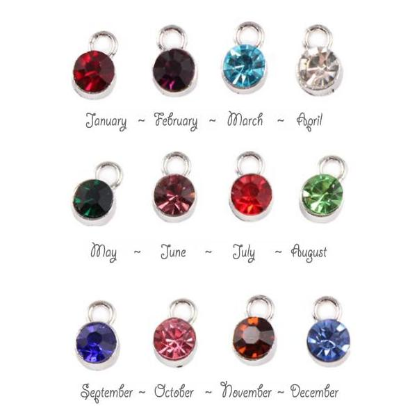 Birthstone Cup Bezel Crystal Charms - 7mm, Silver Tone Alloy - Full Set. (Add to cart, Spend £33 get 1 Free!)