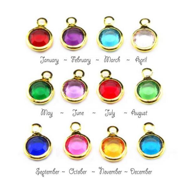 Birthstone Channel Bezel Crystal Charms - 6mm, Gold Tone - Full Set.