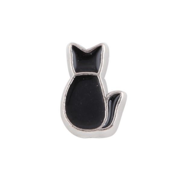 Floating Living Locket Charms, Enamel Little Black Cat