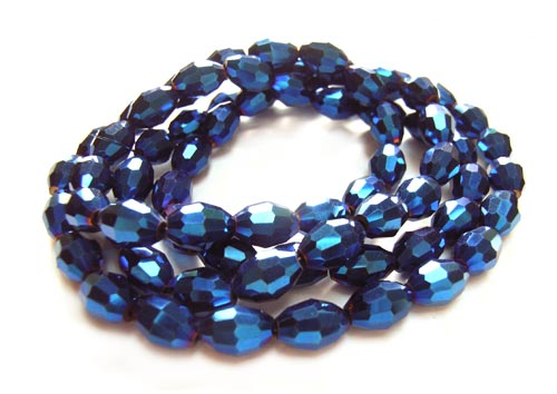 Imperial Crystal Olive Beads 8x6mm Blue Iris Metallic x72