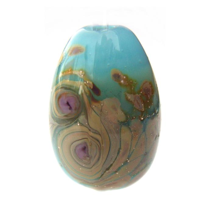 Blue Opal Raku Egg Drop - Artisan Glass Lampwork Bead - d