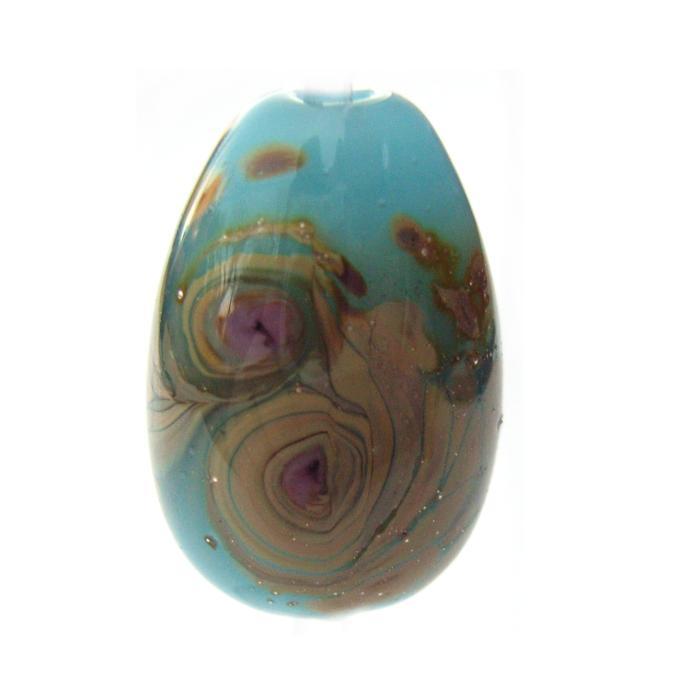 Blue Opal Raku Egg Drop - Artisan Glass Lampwork Bead - e