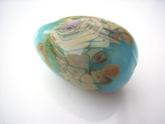 Blue Opal Raku Egg Drop - Artisan Glass Lampwork Bead - b