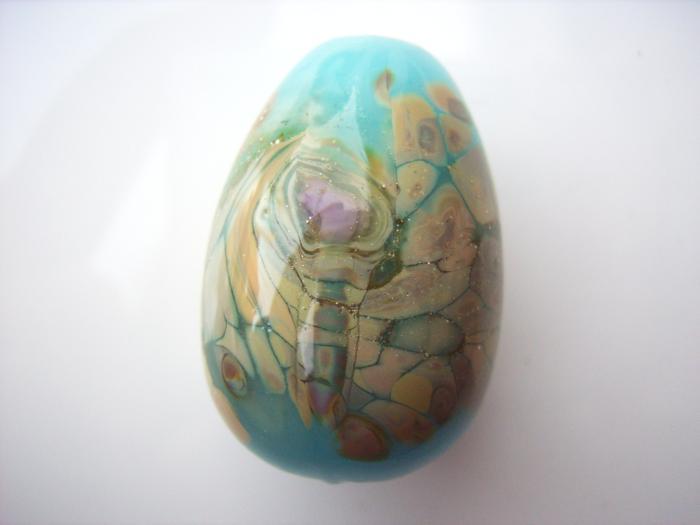 Blue Opal Raku Egg Drop - Artisan Glass Lampwork Bead - a