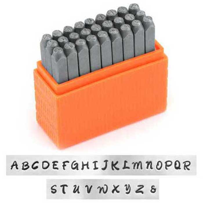 Bridgette Alphabet Upper Case Letter 3mm 1/8 Basic Stamping Set - ImpressArt