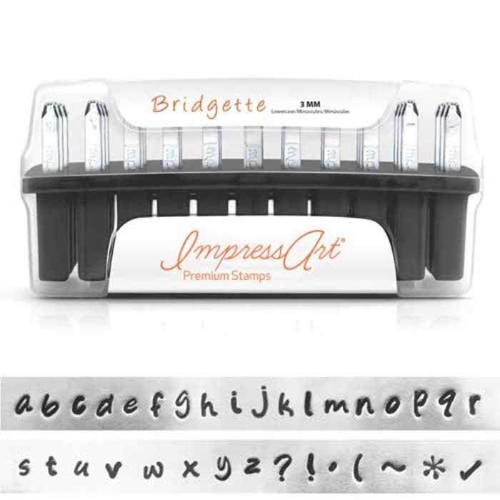 Premium Bridgette Alphabet Lower Case Letter 3mm 1/8 Stamping Set - ImpressArt