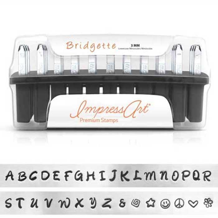 Premium Bridgette Alphabet Upper Case Letter 3mm 1/8 Stamping Set - ImpressArt