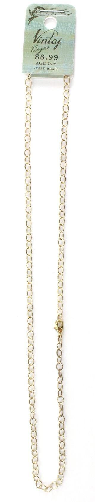 Vintaj Vogue Solid Brass 3.6x4.8mm Extra Fine Oval (soldered link) 18 inch Necklace 1