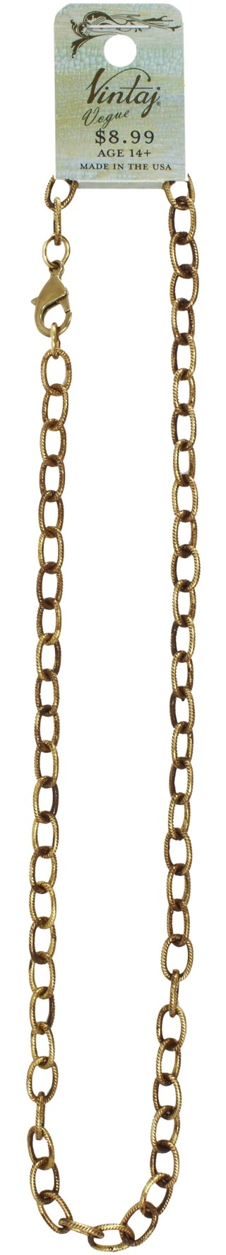 Vintaj Vogue Solid Brass Etched Cable Chain 6.5 x 9.5mm (open link) Necklace