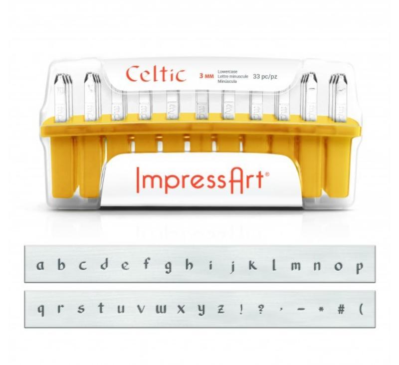 ImpressArt Celtic 3mm Alphabet Lower Case Letter Metal Stamping Set UK large