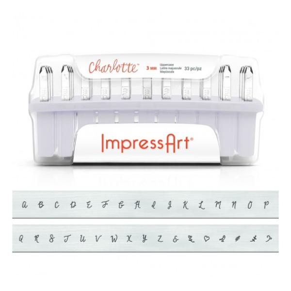 ImpressArt Charlotte 3mm Alphabet Upper Case Letter Metal Stamping Set UK