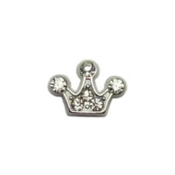 Floating Living Locket Charms, Crystal Rhinestone Princess Crown