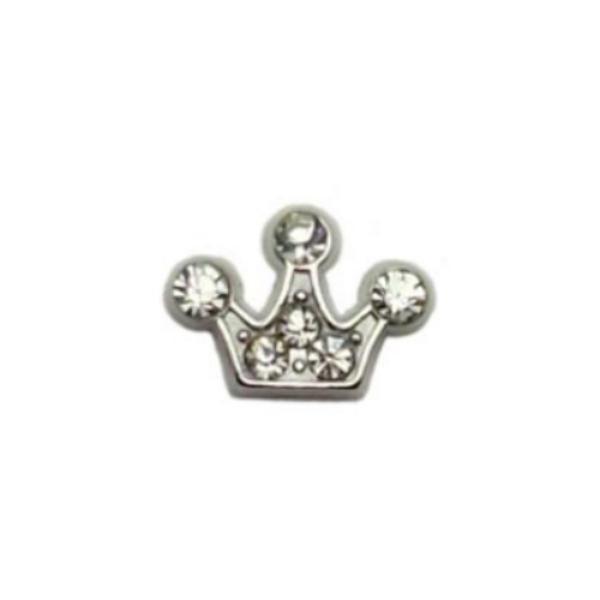 Floating Living Locket Charms, Crystal Rhinestone Princess Crown