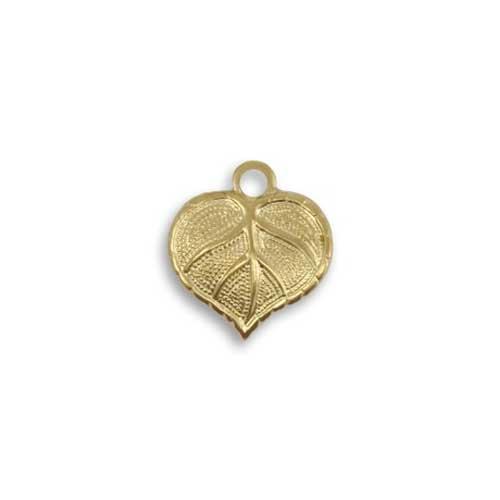 Vintaj Vogue Brass 13x12mm Teensie Nouveau Leaf x1
