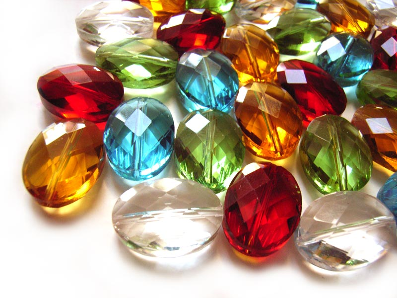 Firepolished Glass Beads 18x13mm Faceted Oval - Gemtones Mix