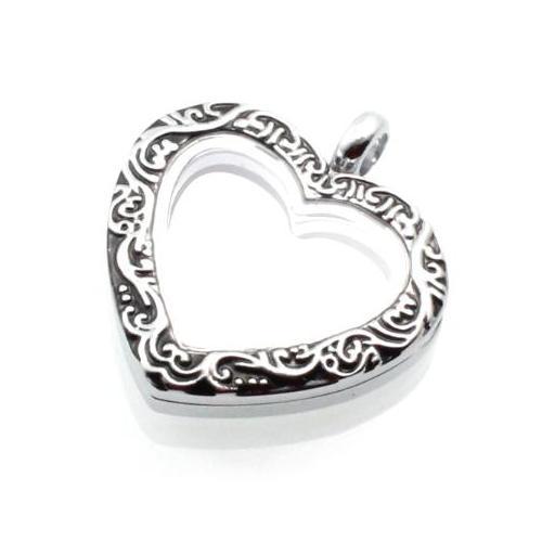 Floating Locket, Ornate Heart Keyring Nickel Alloy Pendant, 30mm angled