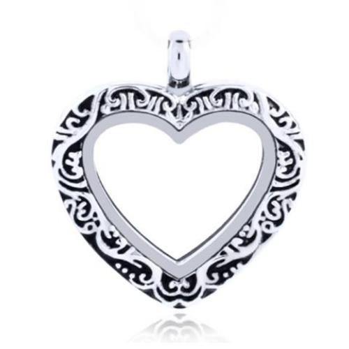 Floating Locket, Ornate Heart Keyring Nickel Alloy Pendant, 30mm front