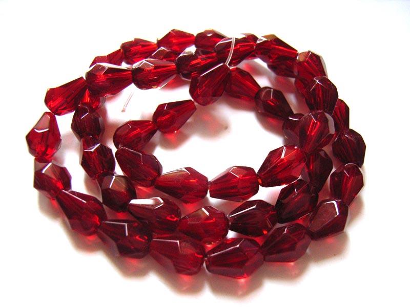 Fire Polished Glass Beads 9x6mm Teardrop - Siam Ruby x33