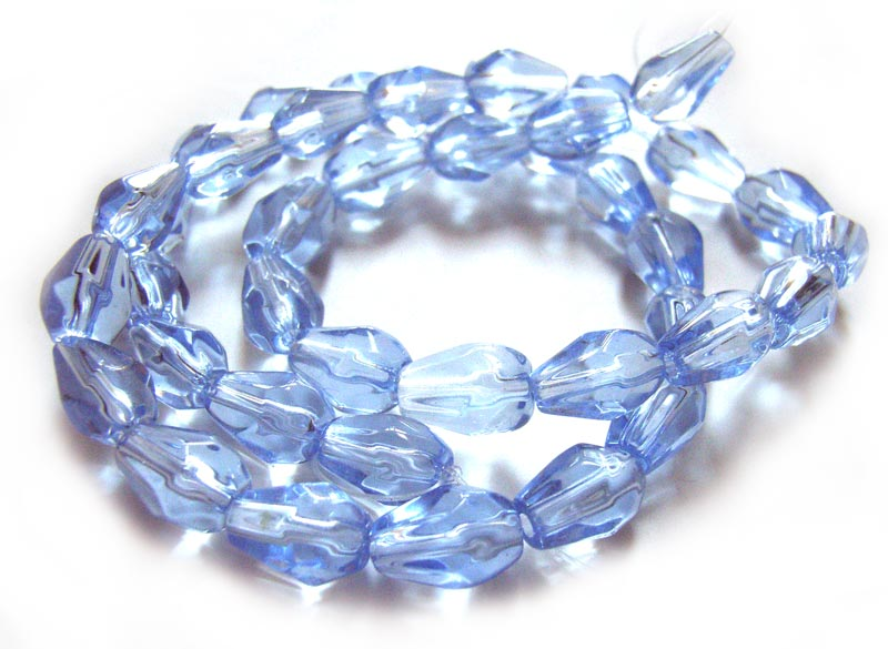 Fire Polished Glass Beads 9x6mm Teardrop - Light Sapphire x40