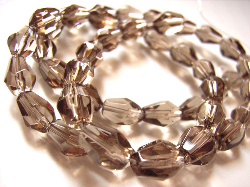 Fire Polished Glass Beads 7.5x5mm Teardrop - Smokey Quartz x45  close up